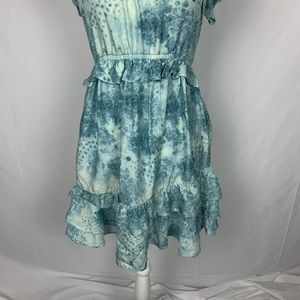 Juicy Couture Dresses - Juicy Couture Silk Ruffle Watercolor Print Dress